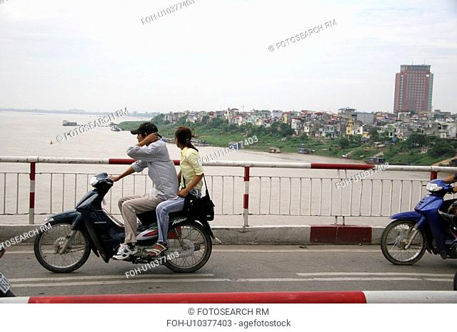 person, red, bridge, vietnam, people