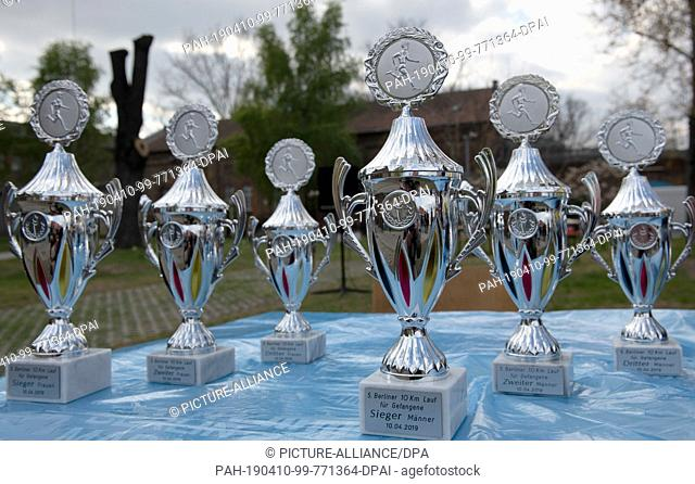 10 April 2019, Berlin: Cups for winners of the 10-kilometer run in the correctional facility (JVA) Plötzensee are available