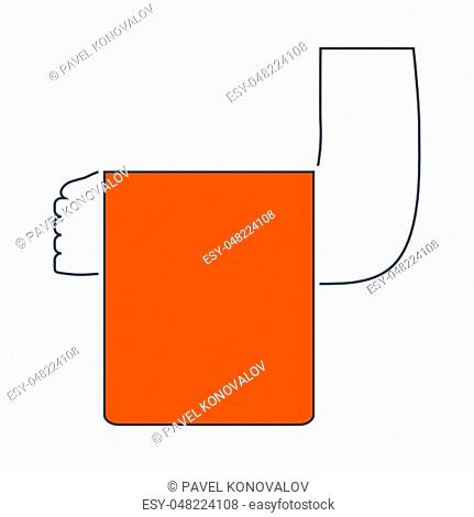 Icon Of Waiter Hand With Towel. Thin Line With Red Fill Design. Vector Illustration