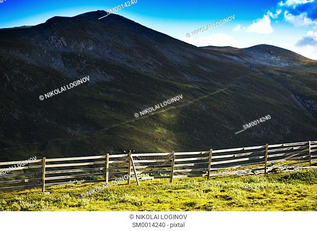 Norway fence in mountains landscape background hd