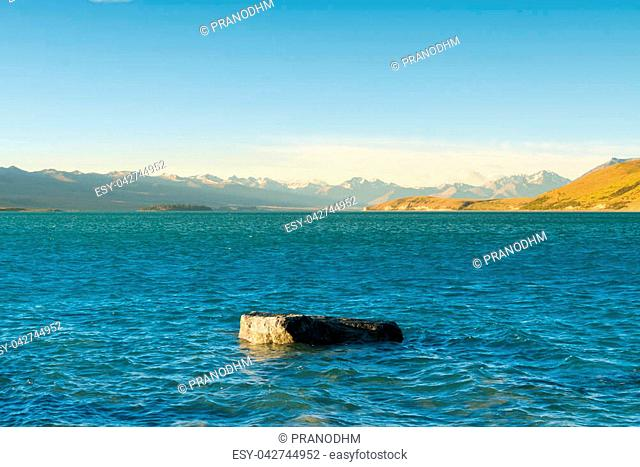 New Zealand water lake with mountain background, natural landscape