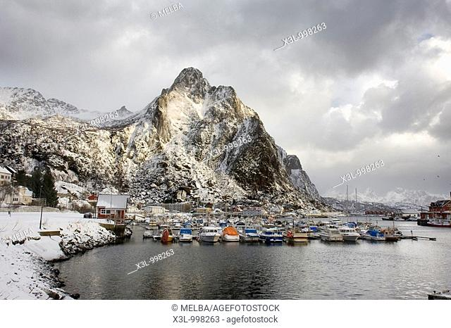 Svolvaer port  Lofoten islands  Norway