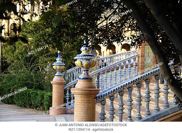 Detail of one of the four bridges located in the Plaza de España. María Luisa Park. Built for the 1929 Iberoamerican Exhibition by the Sevillian architect...