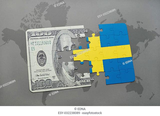 puzzle with the national flag of sweden and dollar banknote on a world map background. 3D illustration