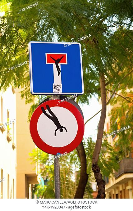 Europe, Spain, Barcelona, gracia, Original traffic signal