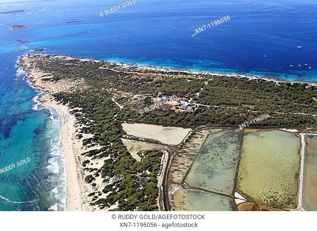 Punta de ses Portes, Caragoler island the closest biggest, Mitjorn beach on the left, Es Cavallet beach on top, Ses Salines, Ibiza, Balearic Islands, Spain