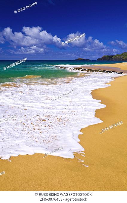 Surf, sand and blue green waters at Secret Beach (Kauapea Beach), Kilauea Lighthouse visible, Island of Kauai, Hawaii USA