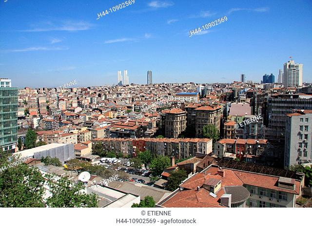 Istanbul, Turkey, overview, town, city, roofs, Beyoglu, city