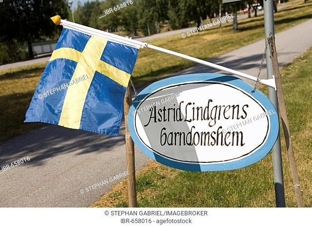 Sign, Astrid Lindgren's birthplace in Naes near Vimmerby, Sweden, Scandinavia, Europe