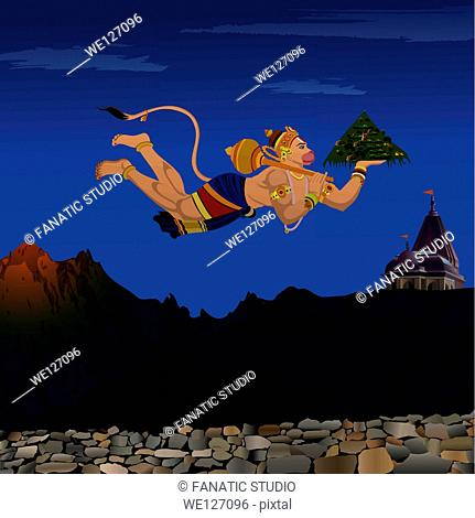 Lord Hanuman flying with Dronagiri mountain