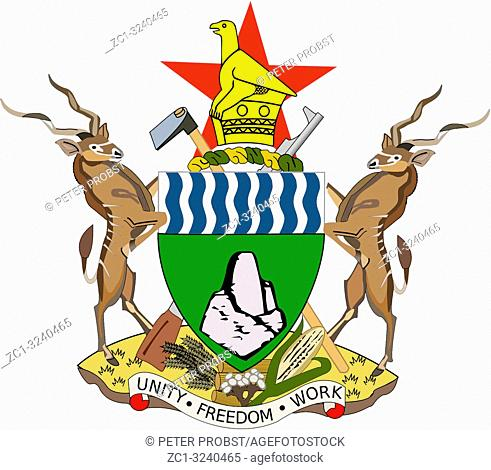 National coat of arms of the Republic of Zimbabwe. .