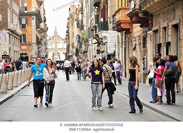 Young people in the Via del Corso, Rome