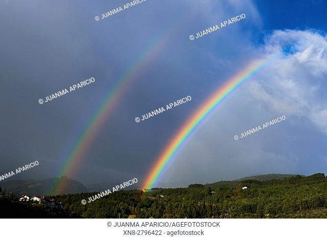 Double Rainbow, Castro Urdiales, Cantabria, Spain, Europe