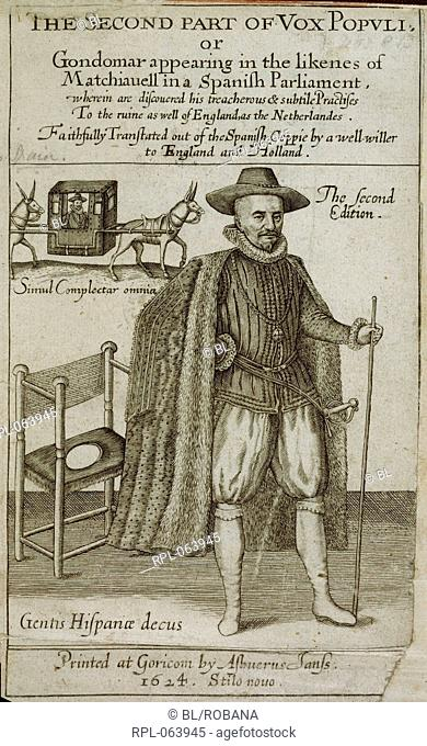 Count Diego Sarmiento de Acuna 1st Count of Gondomar 1567-1626 Ambassador of Spain in England depicted as Machiavelli. Image taken from The Second Part of Vox...