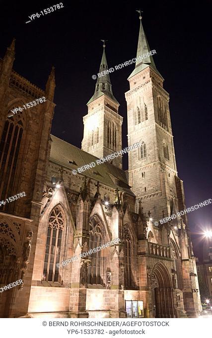 St  Sebald church, illuminated at night, Nuremberg, Germany