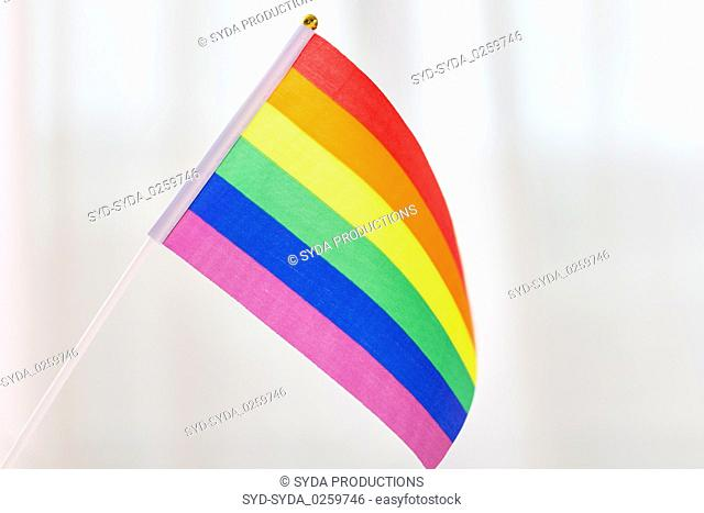 close up of gay pride rainbow flag