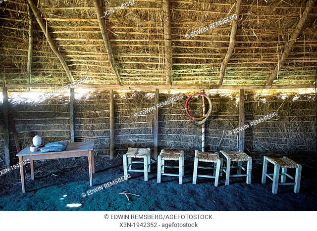 Stone wares inside a traditional South American thatched hut in a pasture on a farm east of Temuco in Chile