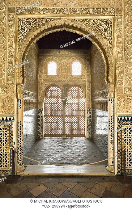 Hall of the Ambassadors Sala de los Embajadores in Alhambra Granada, Spain