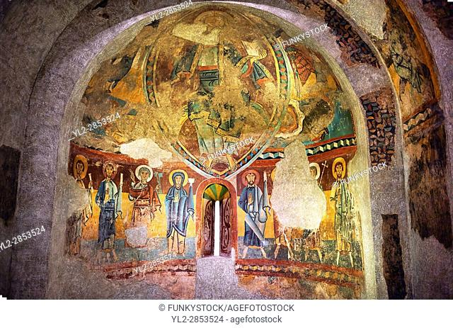 Twelfth century Romanesque frescoes of the Apse of Ginestarre, from the church of Santa Maria de Ginestarre, Catalonia, Spain