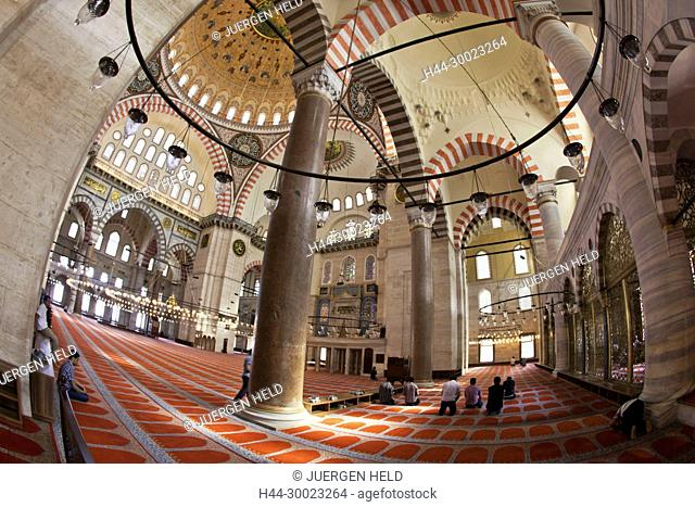 Interior of Suleymaniye Mosque, Istanbul, Turkey , Europe