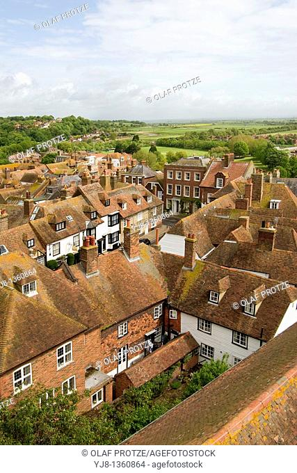The small historical town of Rye, in East Sussex, England, at the River Rother, the Tillingham and the Brede