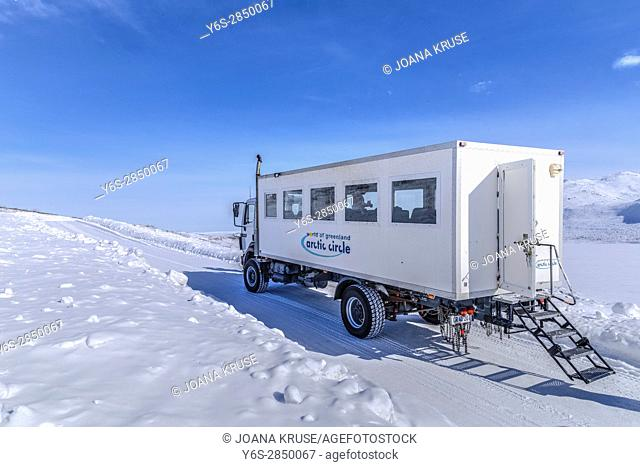 4WD tourist bus in Kangerlussuaq, Artic Circle, Greenland, Europe