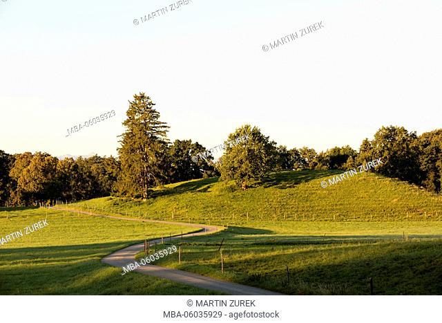 hilly landscape in Weilheim, Upper Bavaria, Germany