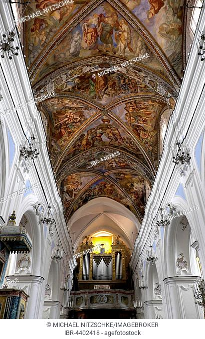 Ceiling vault with organ loft, Cathedral of San Bartolomeo, Lipari town, Lipari, Aeolian Islands, Sicily, Italy