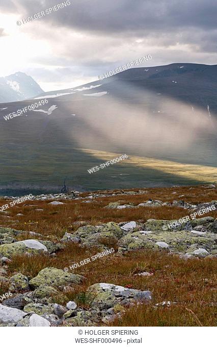 Sweden, Lapland, View of Parte range in Sarek National Park