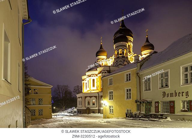 Winter dawn at Alexander Nevsky orthodox church in Tallinn old town, Estonia