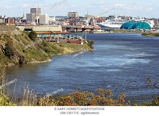 The city center and business district of Saint John New Brunswick also showing the Saint John River