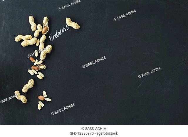 Peanuts, whole and shelled, with a handwritten label