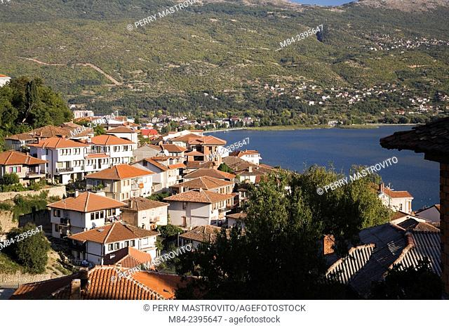 Mountain range with lake Ohrid and residential buildings in the town of Ohrid, UNESCO World Heritage Site, Macedonia, Eastern Europe