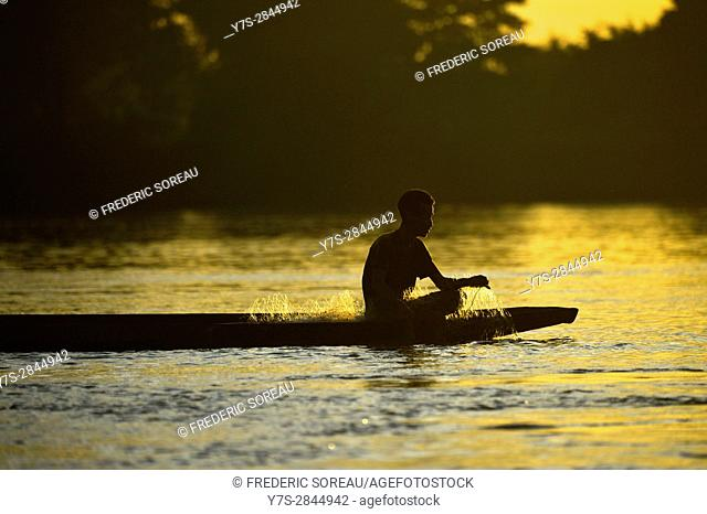 Fishing boat on Mekong river,Four Thousand islands, Laos,Southeast Asia