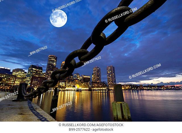 Anchor Chain Fan Pier Harborwalk Rowes Wharf Downtown Skyline Inner Harbor South Boston Massachusetts Usa