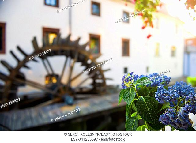 Old wooden watermill in Prague at summer day