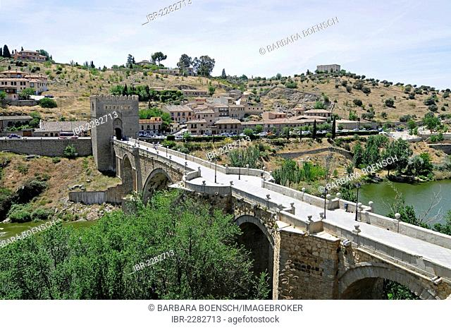 Puente de San Martin, bridge over the Tagus river, Rio Tajo, Toledo, Castile–La Mancha, Spain, Europe, PublicGround