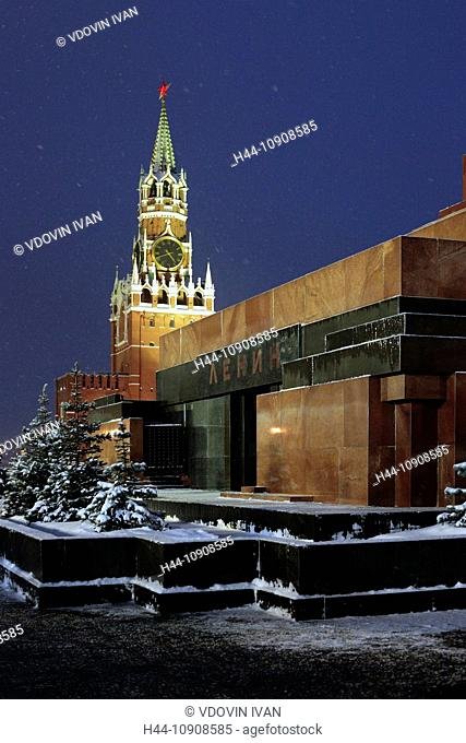 Moscow, Russia, Russian, Red square, Kremlin, Tower, towers, night, evening, nite, Eastern Europe, European, City, town, winter, snow