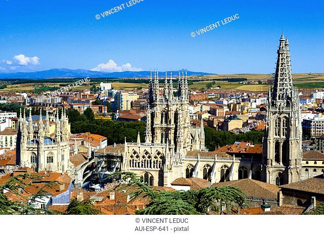 Spain - Castile and Leon - Burgos - View of the cathedral and of the city