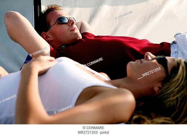 young couple, relaxing, yacht, friendship, portrai