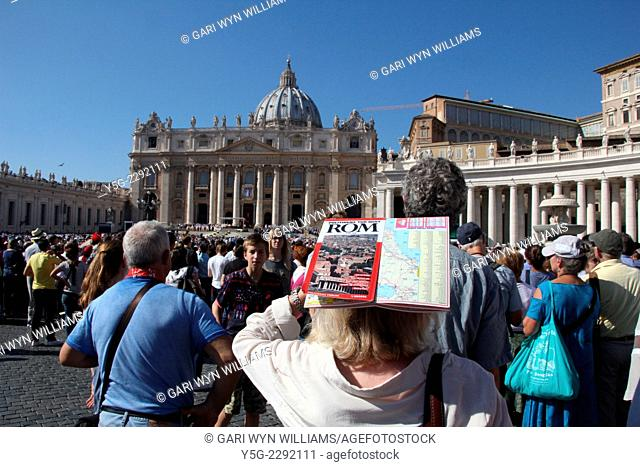Rome, Italy 19th October 2014 - People at the beatification ceremony of Pope Paul VI at Saint Peter's Square in the Vatican, Rome, Italy