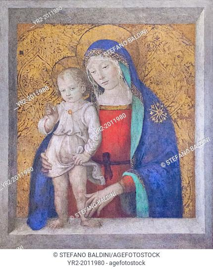 Madonna del davanzale, Bernardino di Betto known as Pinturicchio, 1454-1513, cm 105 x 87, vatican museums, Rome, Italy