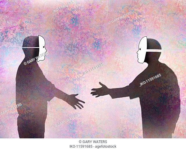 Two men in face masks shaking hands