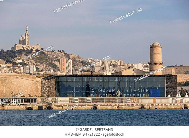 France, Bouches du Rhone, Marseille, Mole J4, MuCEM (Museum of Civilization in Europe and the Mediterranean and the Notre Dame de la Garde cathedral