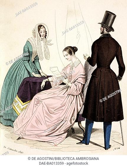 Female sketches in green dress and hat with voile and in pink dress and male sketch in morning suit, plate 54 taken from Parisian Fashion