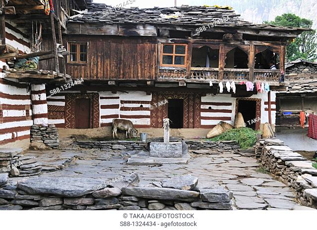 View of the mountain village house in Old Manali. Manali, Himachal Pradesh, India