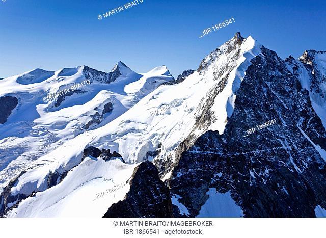 View from Piz Morteratsch Mountain towards Bianco Ridge, Bernina Range, Grisons, Switzerland, Europe