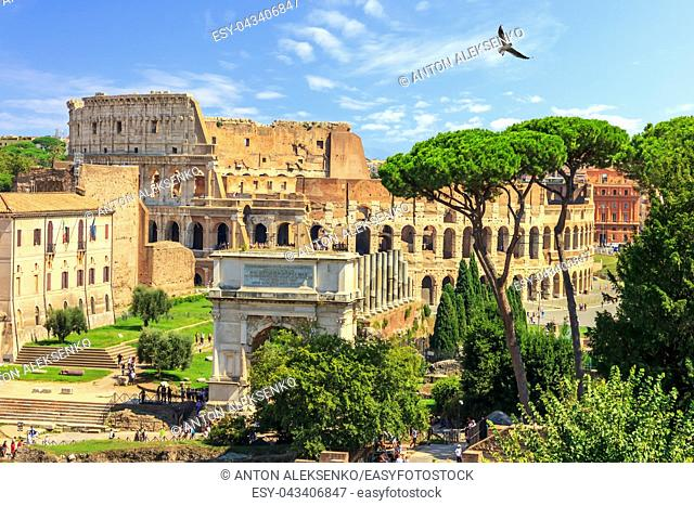 Roman Coliseum and the Arch of Titus summer view, no people