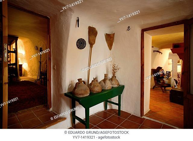 Interior of cave house  Galera House dwellings  Galera, Granada, Andalusia, Spain