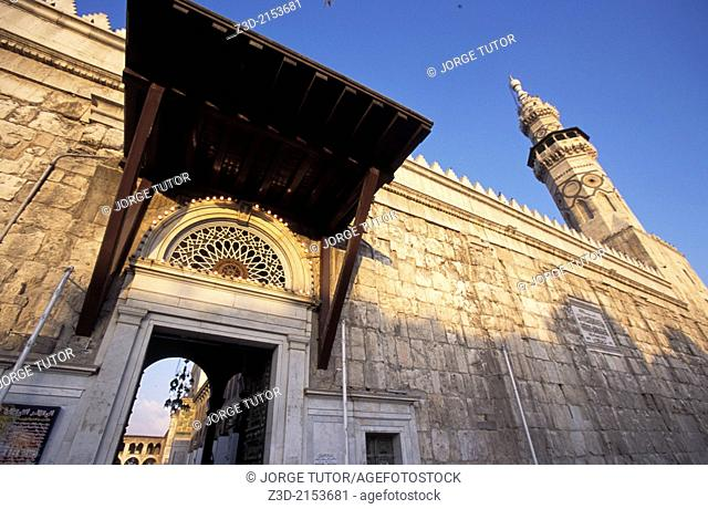 Entrance of the Umayyad Mosque, also known as the Great Mosque of Damascus, Syria